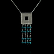 Large square pendant necklace